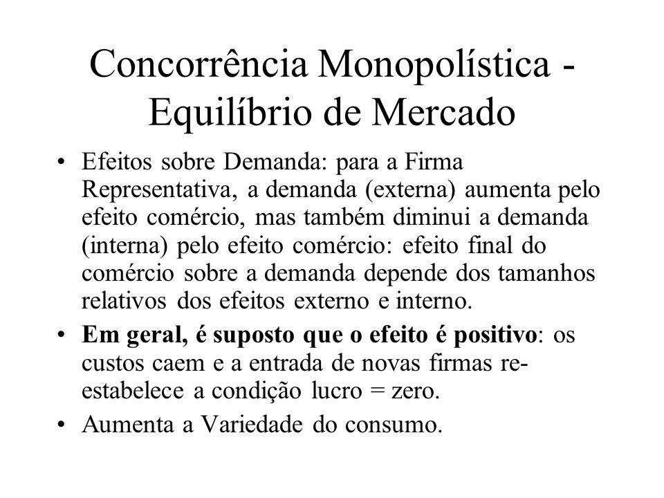Concorrência Monopolística - Equilíbrio de Mercado Mercado maior e Custo Médio: um aumento das vendas (S) reduz o CMe para um número dado de firmas n conforme a equação que define a curva CC: CMe = nF/S + c.