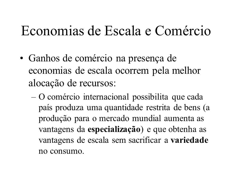 Economias de Escala e Comércio O comércio internacional será mutuamente benéfico.