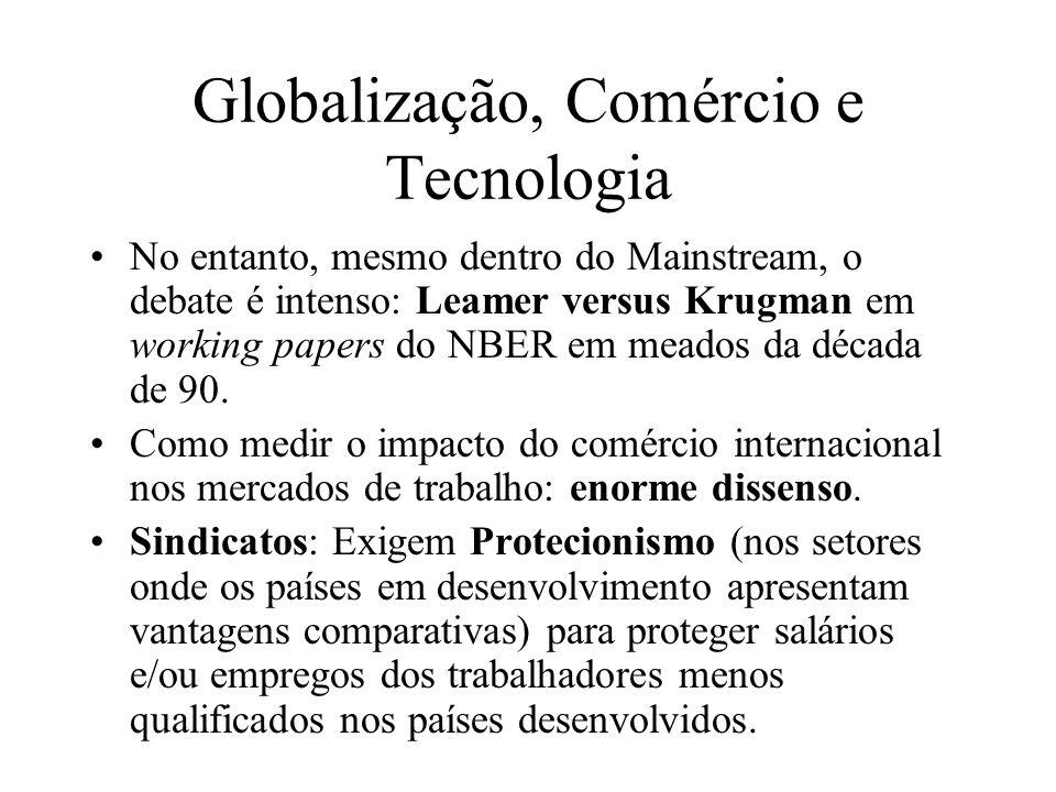 Globalização, Comércio e Tecnologia No entanto, mesmo dentro do Mainstream, o debate é intenso: Leamer versus Krugman em working papers do NBER em mea