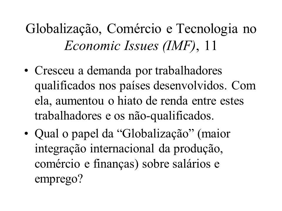 Globalização, Comércio e Tecnologia no Economic Issues (IMF), 11 Cresceu a demanda por trabalhadores qualificados nos países desenvolvidos. Com ela, a
