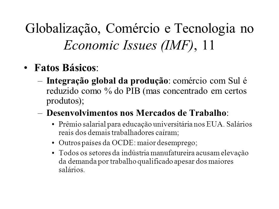 Globalização, Comércio e Tecnologia no Economic Issues (IMF), 11 Fatos Básicos: –Integração global da produção: comércio com Sul é reduzido como % do