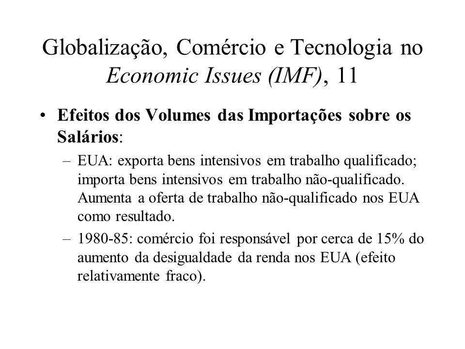 Globalização, Comércio e Tecnologia no Economic Issues (IMF), 11 Efeitos dos Volumes das Importações sobre os Salários: –EUA: exporta bens intensivos