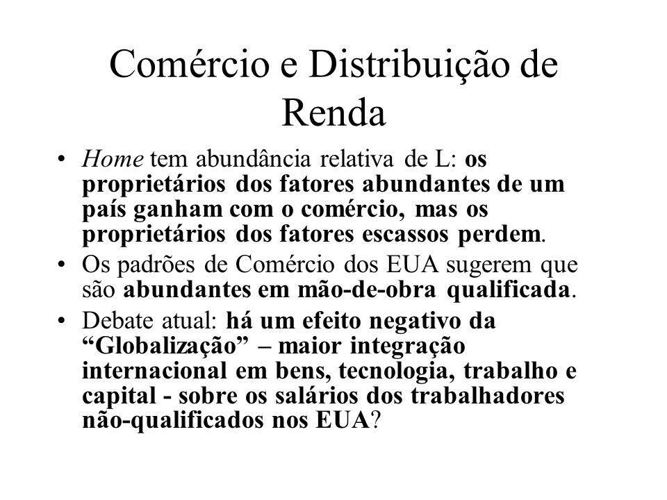 Comércio e Distribuição de Renda Home tem abundância relativa de L: os proprietários dos fatores abundantes de um país ganham com o comércio, mas os p
