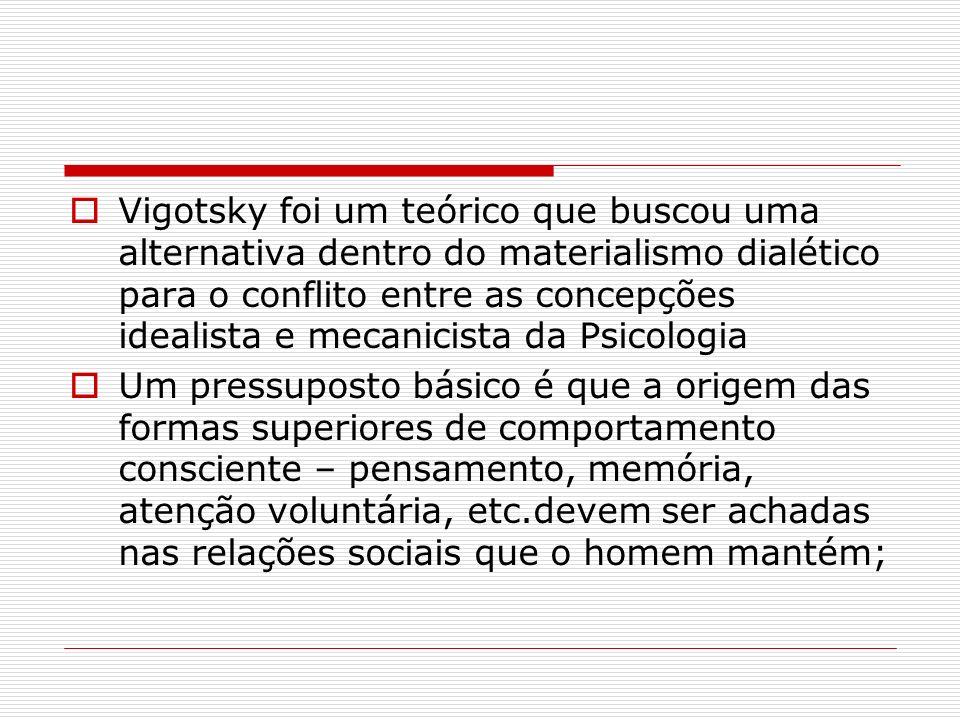 Vigotsky foi um teórico que buscou uma alternativa dentro do materialismo dialético para o conflito entre as concepções idealista e mecanicista da Psi