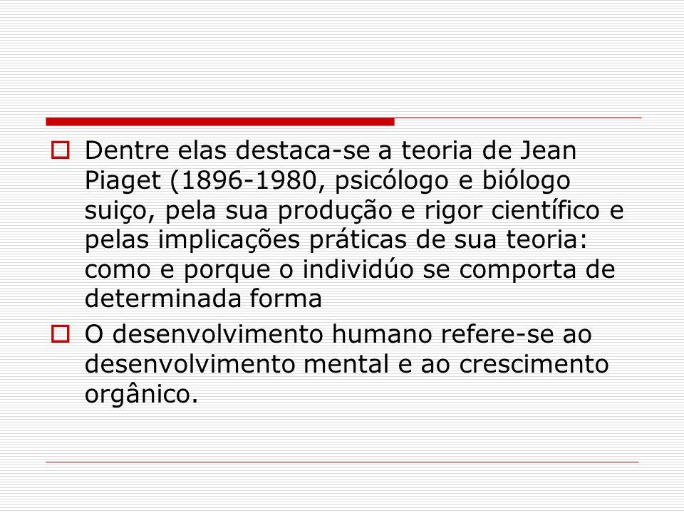 Dentre elas destaca-se a teoria de Jean Piaget (1896-1980, psicólogo e biólogo suiço, pela sua produção e rigor científico e pelas implicações prática