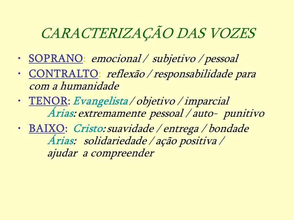 CARACTERIZAÇÃO DAS VOZES SOPRANO: emocional / subjetivo / pessoal CONTRALTO: reflexão / responsabilidade para com a humanidade TENOR: Evangelista / ob