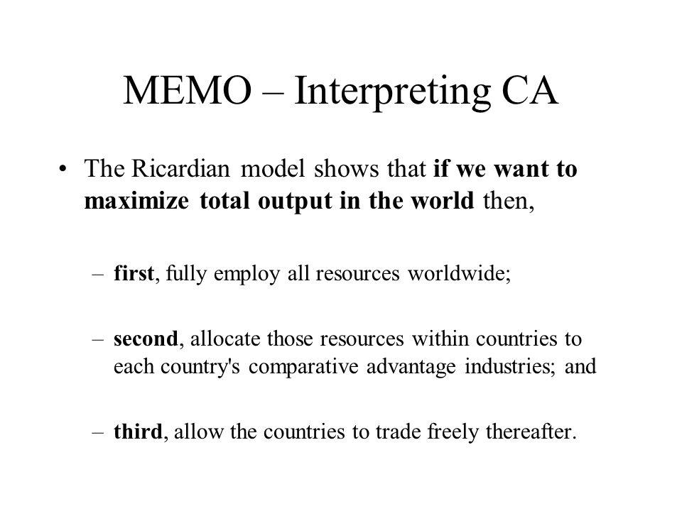MEMO - Testes de Validade do Modelo Ricardiano O prognóstico básico do modelo é que os países tenderiam a exportar os bens cuja produtividade é relativamente alta, ilustrando o princípio da VC.