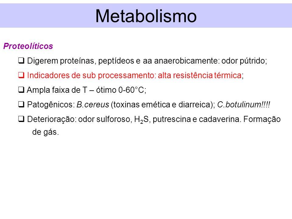 Metabolismo Proteolíticos Digerem proteínas, peptídeos e aa anaerobicamente: odor pútrido; Indicadores de sub processamento: alta resistência térmica;