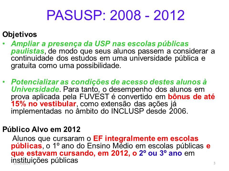 27/3/20143 PASUSP: 2008 - 2012 Objetivos Ampliar a presença da USP nas escolas públicas paulistas, de modo que seus alunos passem a considerar a continuidade dos estudos em uma universidade pública e gratuita como uma possibilidade.