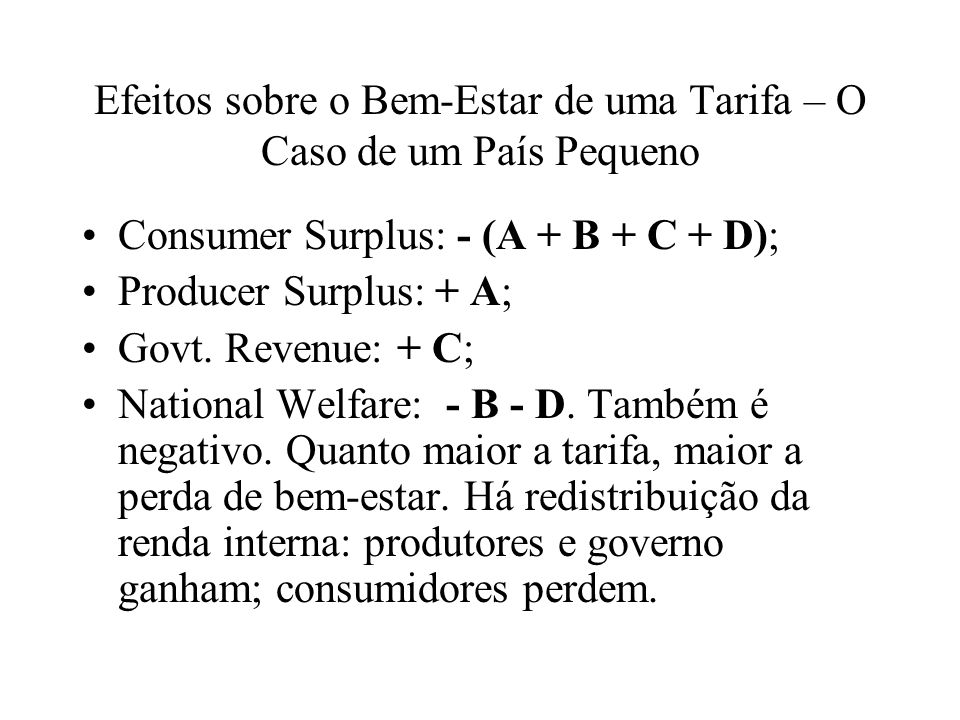 Consumer Surplus: - (A + B + C + D); Producer Surplus: + A; Govt.