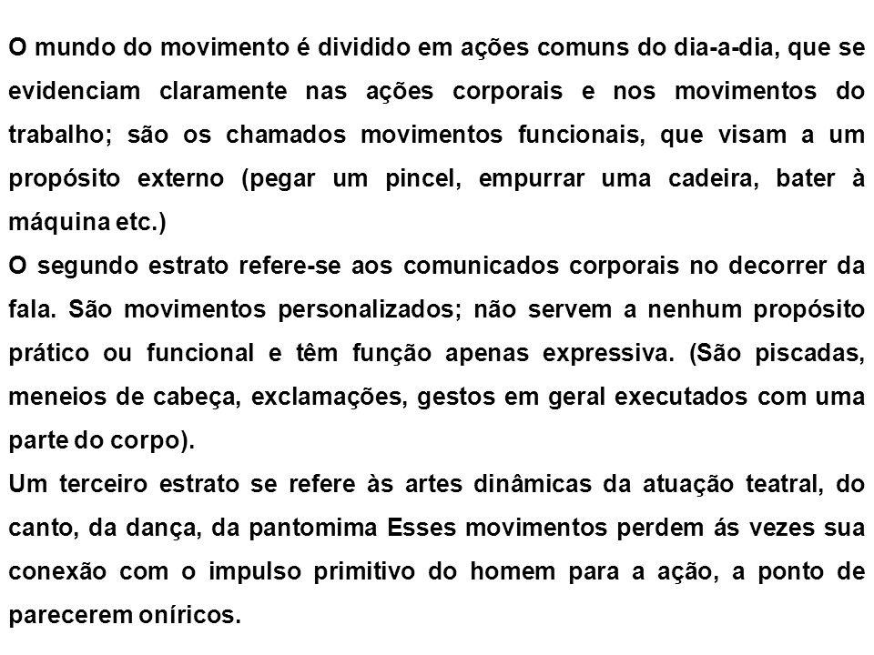 O mundo do movimento é dividido em ações comuns do dia-a-dia, que se evidenciam claramente nas ações corporais e nos movimentos do trabalho; são os ch