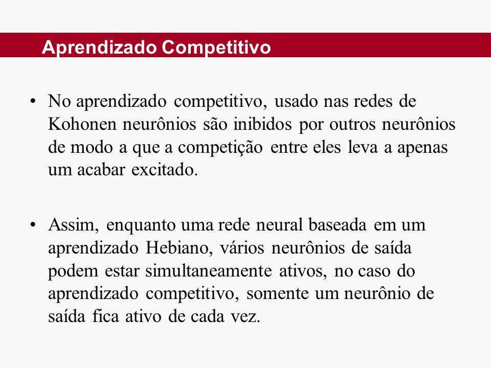 No aprendizado competitivo, usado nas redes de Kohonen neurônios são inibidos por outros neurônios de modo a que a competição entre eles leva a apenas um acabar excitado.