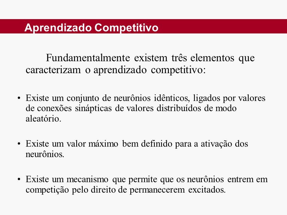 Fundamentalmente existem três elementos que caracterizam o aprendizado competitivo: Existe um conjunto de neurônios idênticos, ligados por valores de conexões sinápticas de valores distribuídos de modo aleatório.