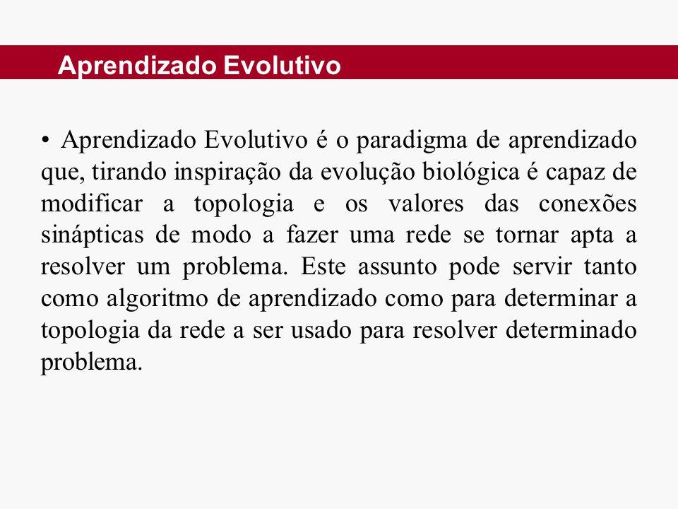 Aprendizado Evolutivo é o paradigma de aprendizado que, tirando inspiração da evolução biológica é capaz de modificar a topologia e os valores das conexões sinápticas de modo a fazer uma rede se tornar apta a resolver um problema.
