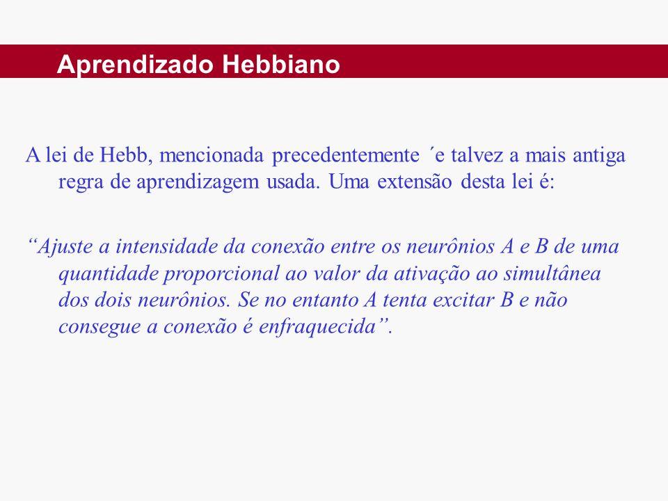Aprendizado Hebbiano A lei de Hebb, mencionada precedentemente ´e talvez a mais antiga regra de aprendizagem usada. Uma extensão desta lei é: Ajuste a