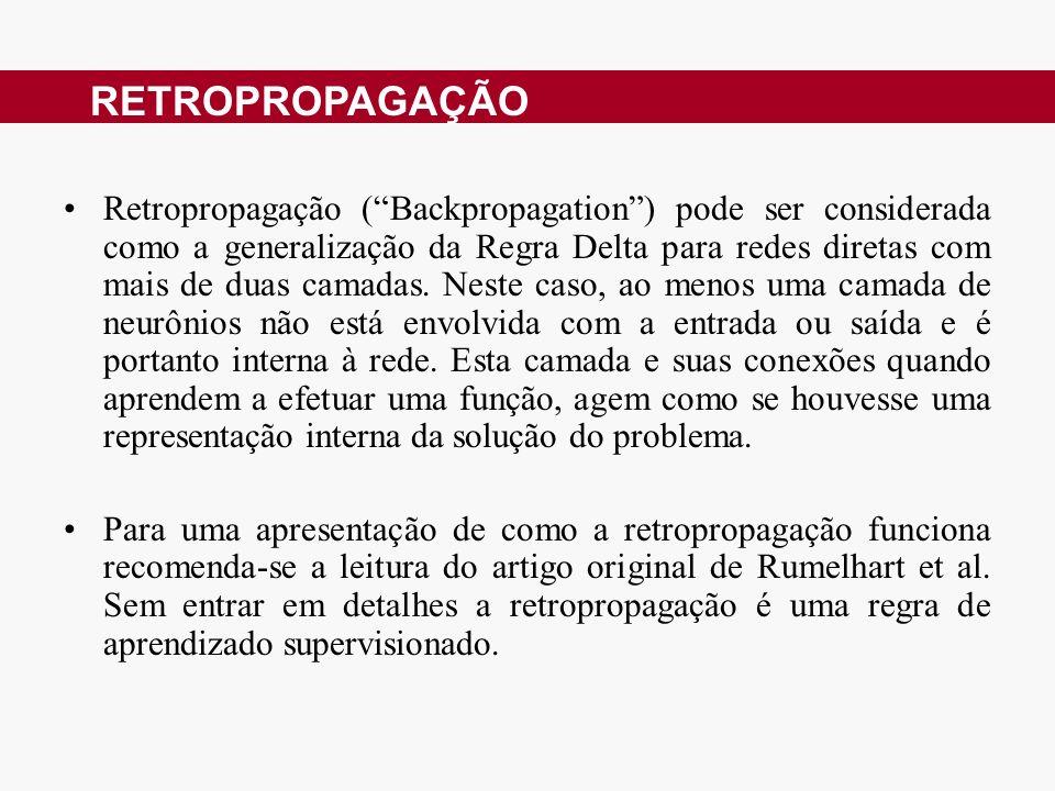 Retropropagação (Backpropagation) pode ser considerada como a generalização da Regra Delta para redes diretas com mais de duas camadas. Neste caso, ao