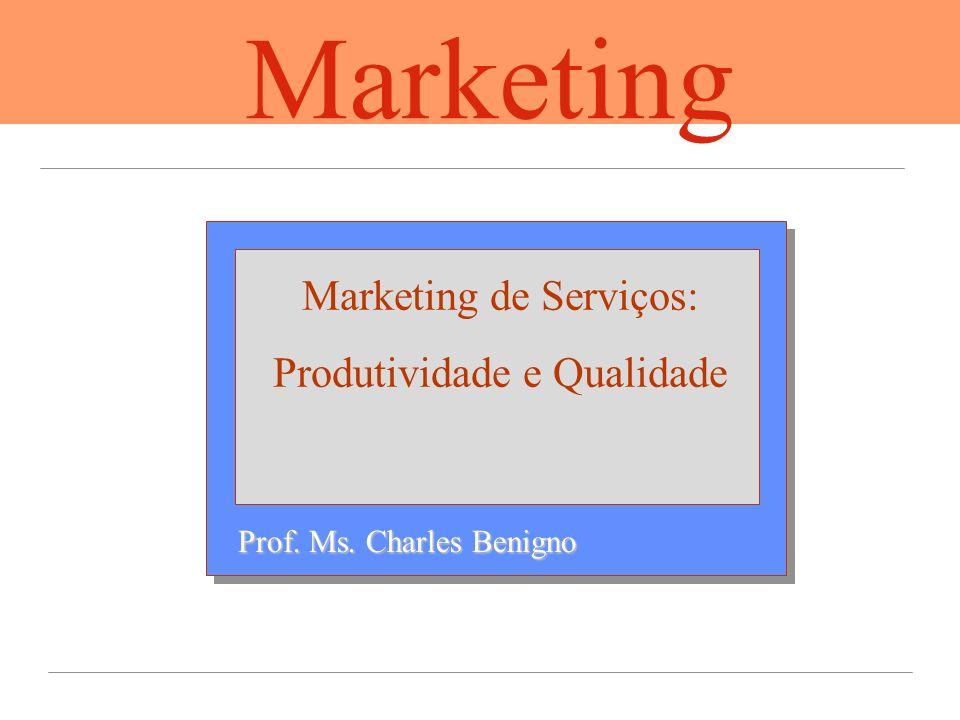 Prof. Ms. Charles Benigno Marketing de Serviços: Produtividade e Qualidade Marketing