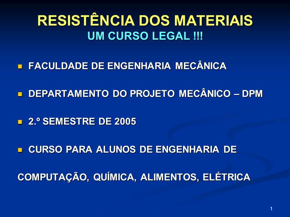 1 RESISTÊNCIA DOS MATERIAIS UM CURSO LEGAL !!! FACULDADE DE ENGENHARIA MECÂNICA FACULDADE DE ENGENHARIA MECÂNICA DEPARTAMENTO DO PROJETO MECÂNICO – DP