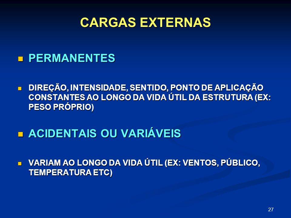 27 CARGAS EXTERNAS PERMANENTES PERMANENTES DIREÇÃO, INTENSIDADE, SENTIDO, PONTO DE APLICAÇÃO CONSTANTES AO LONGO DA VIDA ÚTIL DA ESTRUTURA (EX: PESO P