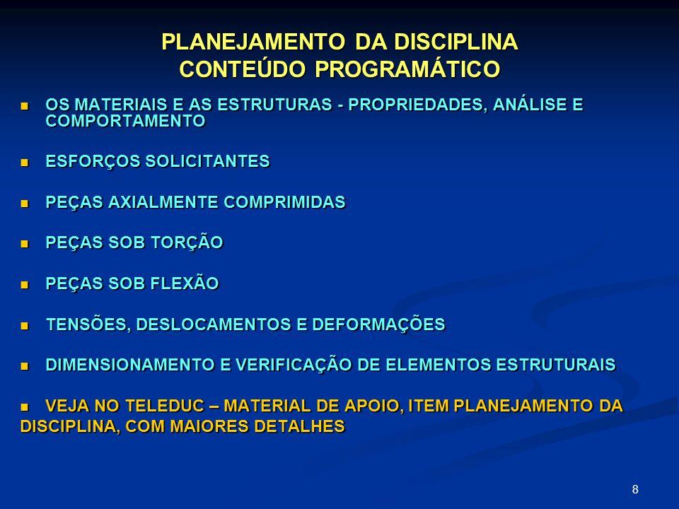8 PLANEJAMENTO DA DISCIPLINA CONTEÚDO PROGRAMÁTICO OS MATERIAIS E AS ESTRUTURAS - PROPRIEDADES, ANÁLISE E COMPORTAMENTO OS MATERIAIS E AS ESTRUTURAS -