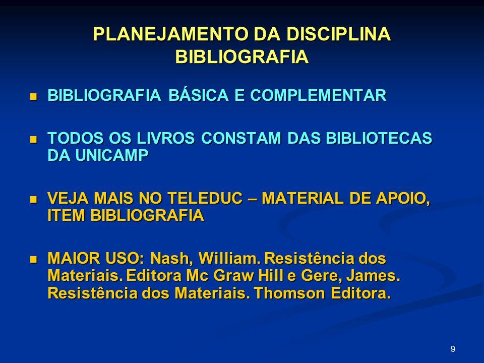 9 PLANEJAMENTO DA DISCIPLINA BIBLIOGRAFIA BIBLIOGRAFIA BÁSICA E COMPLEMENTAR BIBLIOGRAFIA BÁSICA E COMPLEMENTAR TODOS OS LIVROS CONSTAM DAS BIBLIOTECA