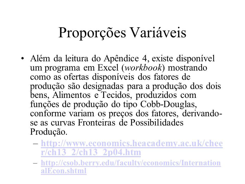 Proporções Variáveis Além da leitura do Apêndice 4, existe disponível um programa em Excel (workbook) mostrando como as ofertas disponíveis dos fatore