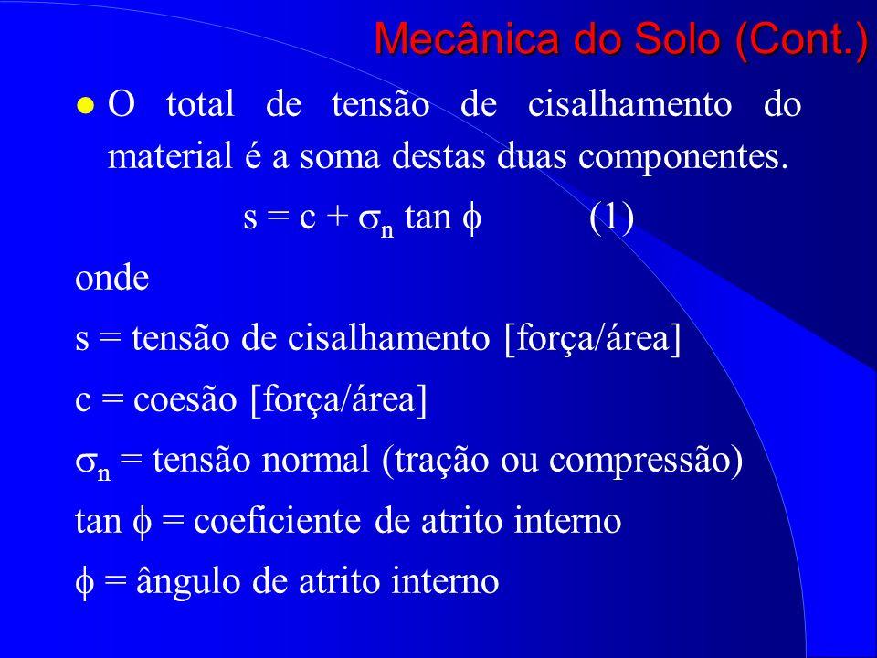 l O total de tensão de cisalhamento do material é a soma destas duas componentes. s = c + n tan (1) onde s = tensão de cisalhamento [força/área] c = c