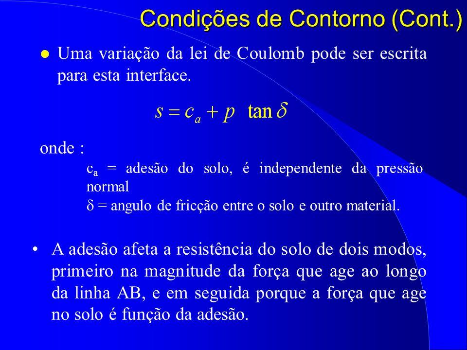 l Uma variação da lei de Coulomb pode ser escrita para esta interface. Condições de Contorno (Cont.) onde : c a = adesão do solo, é independente da pr