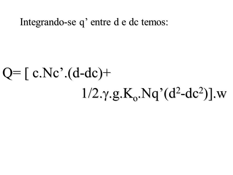 Integrando-se q entre d e dc temos: Q= [ c.Nc.(d-dc)+ 1/2.