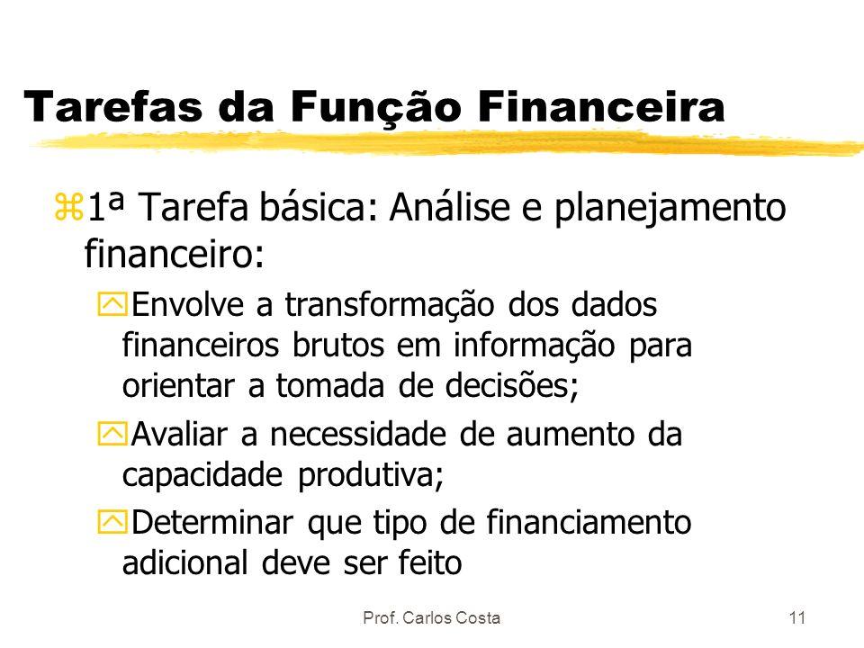 Prof. Carlos Costa11 Tarefas da Função Financeira z1ª Tarefa básica: Análise e planejamento financeiro: yEnvolve a transformação dos dados financeiros