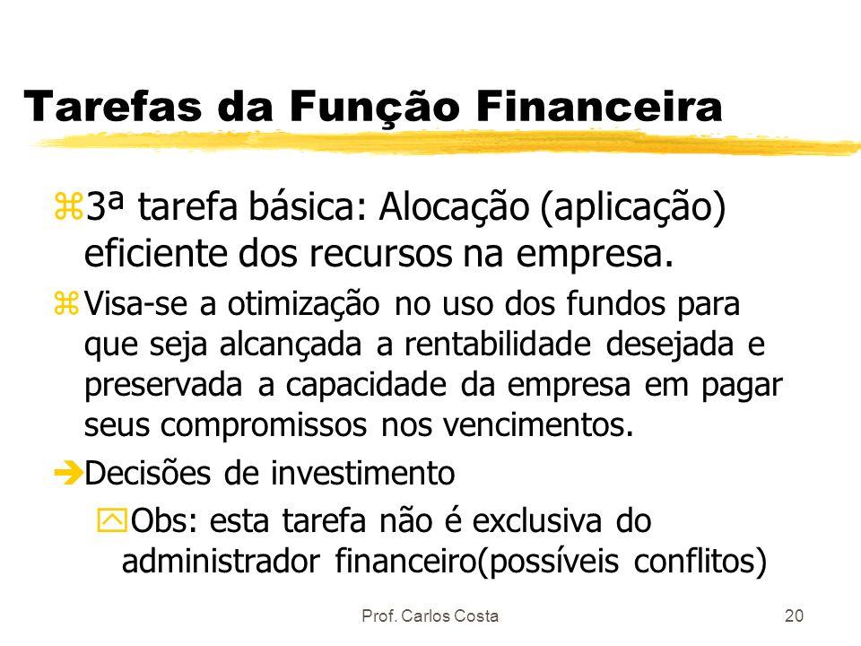 Prof. Carlos Costa20 Tarefas da Função Financeira z3ª tarefa básica: Alocação (aplicação) eficiente dos recursos na empresa. zVisa-se a otimização no