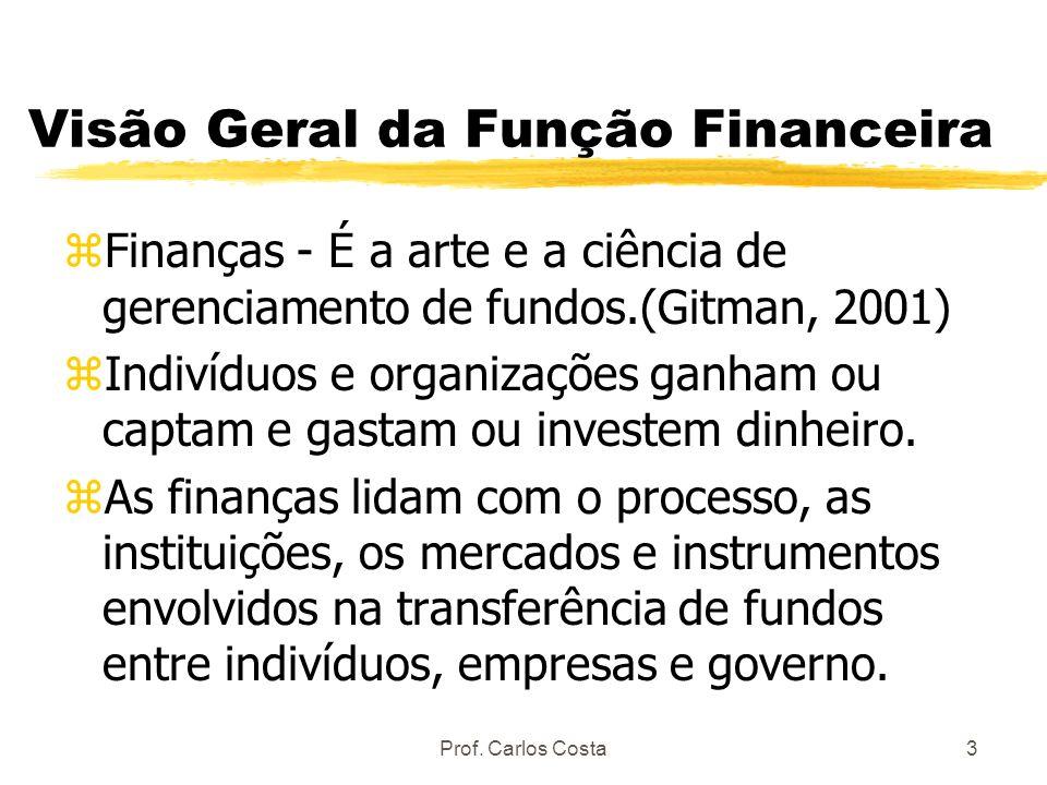 Prof. Carlos Costa3 Visão Geral da Função Financeira zFinanças - É a arte e a ciência de gerenciamento de fundos.(Gitman, 2001) zIndivíduos e organiza