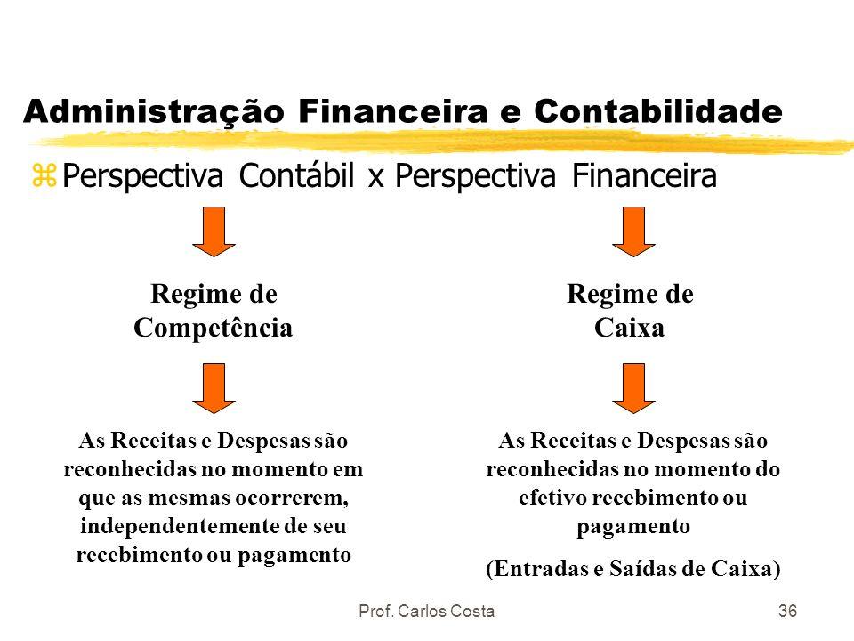 Prof. Carlos Costa36 Administração Financeira e Contabilidade zPerspectiva Contábil x Perspectiva Financeira Regime de Competência As Receitas e Despe