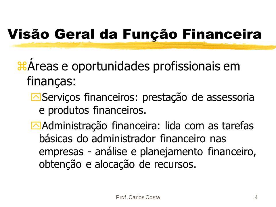 Prof. Carlos Costa4 Visão Geral da Função Financeira zÁreas e oportunidades profissionais em finanças: yServiços financeiros: prestação de assessoria