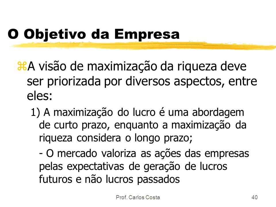 Prof. Carlos Costa40 O Objetivo da Empresa zA visão de maximização da riqueza deve ser priorizada por diversos aspectos, entre eles: 1) A maximização