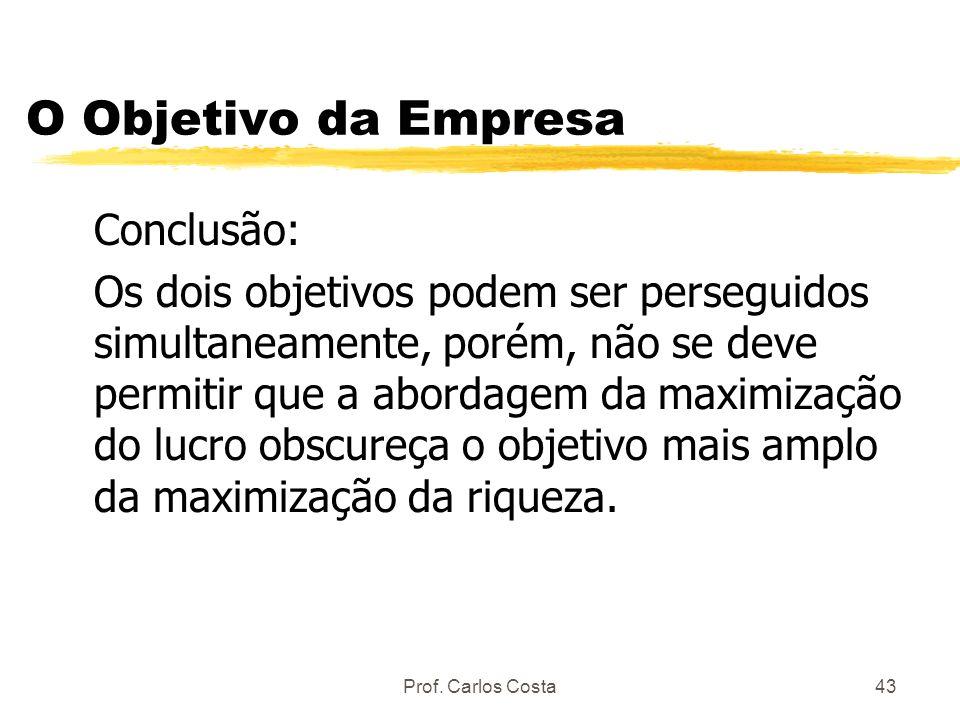 Prof. Carlos Costa43 O Objetivo da Empresa Conclusão: Os dois objetivos podem ser perseguidos simultaneamente, porém, não se deve permitir que a abord