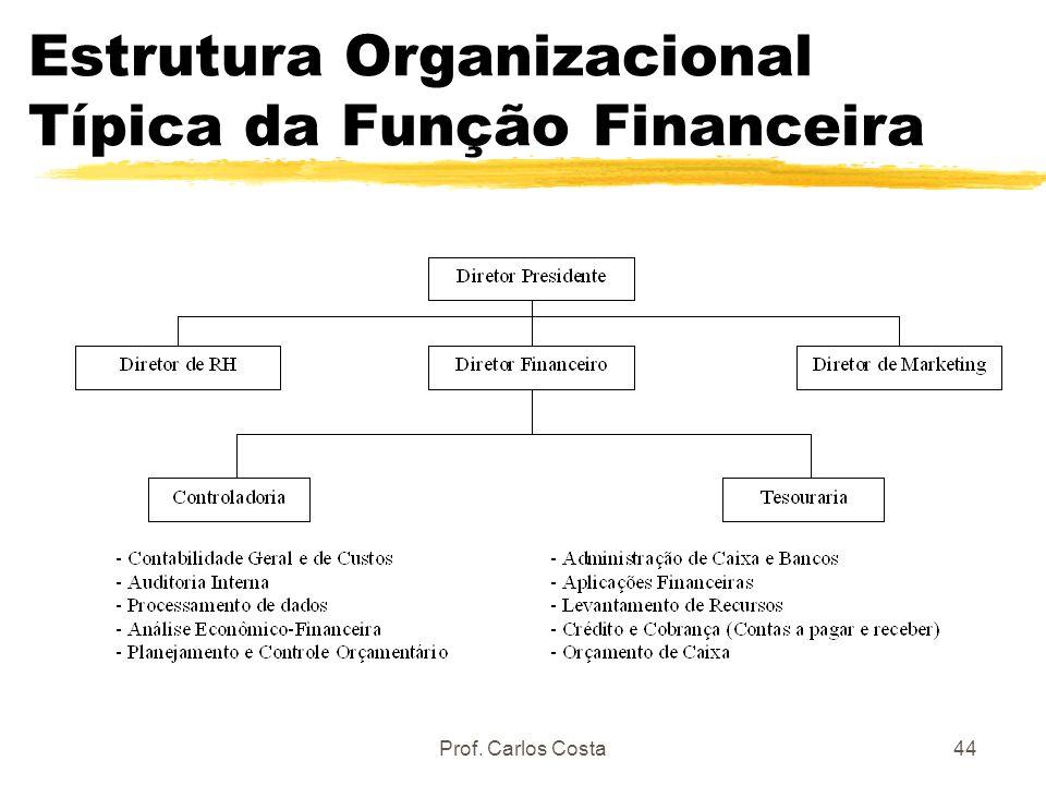 Prof. Carlos Costa44 Estrutura Organizacional Típica da Função Financeira