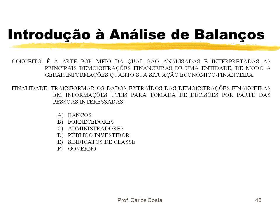 Prof. Carlos Costa46 Introdução à Análise de Balanços