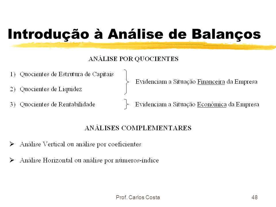 Prof. Carlos Costa48 Introdução à Análise de Balanços