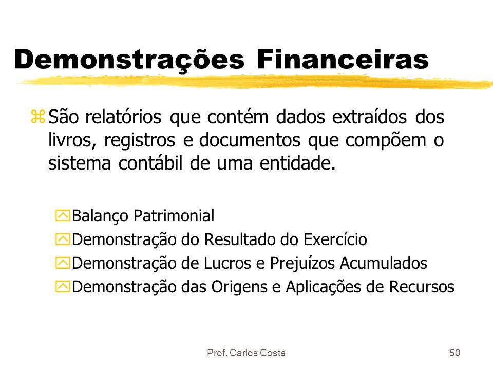 Prof. Carlos Costa50 Demonstrações Financeiras zSão relatórios que contém dados extraídos dos livros, registros e documentos que compõem o sistema con