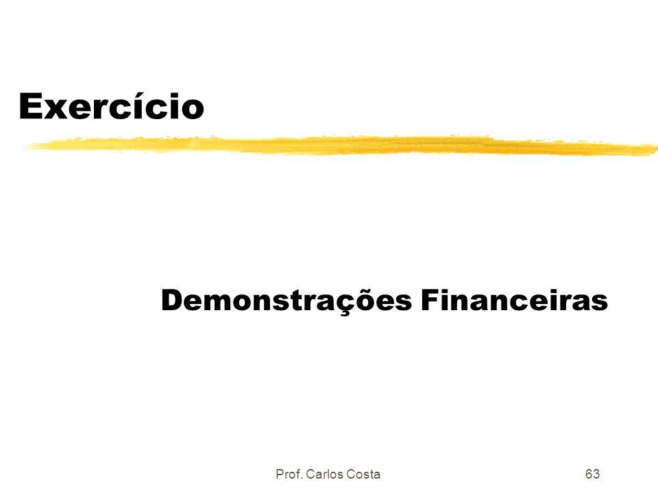 Prof. Carlos Costa63 Exercício Demonstrações Financeiras