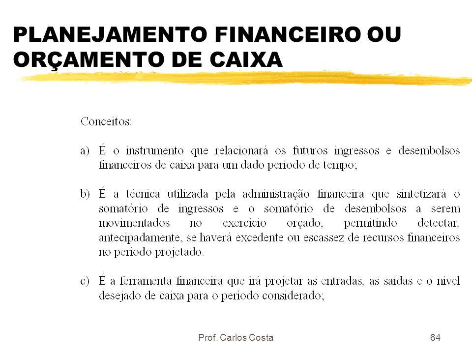 Prof. Carlos Costa64 PLANEJAMENTO FINANCEIRO OU ORÇAMENTO DE CAIXA