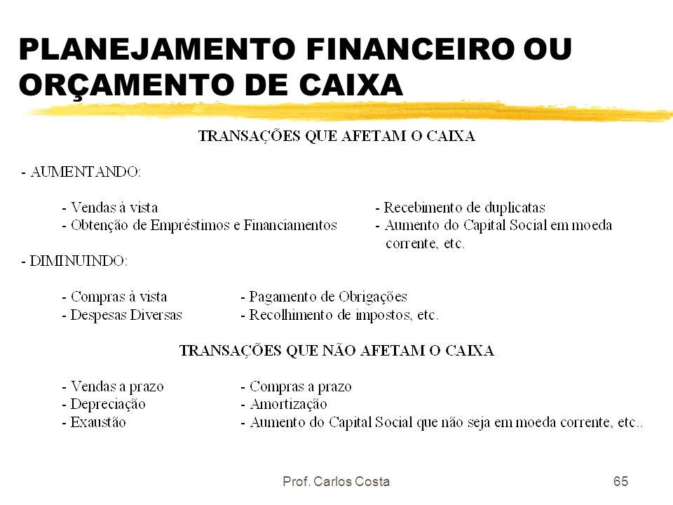 Prof. Carlos Costa65 PLANEJAMENTO FINANCEIRO OU ORÇAMENTO DE CAIXA