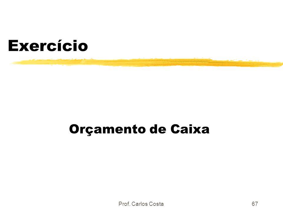 Prof. Carlos Costa67 Exercício Orçamento de Caixa