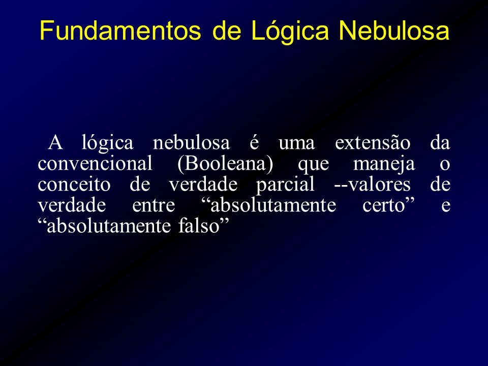 A lógica nebulosa é uma extensão da convencional (Booleana) que maneja o conceito de verdade parcial --valores de verdade entre absolutamente certo e absolutamente falso Fundamentos de Lógica Nebulosa