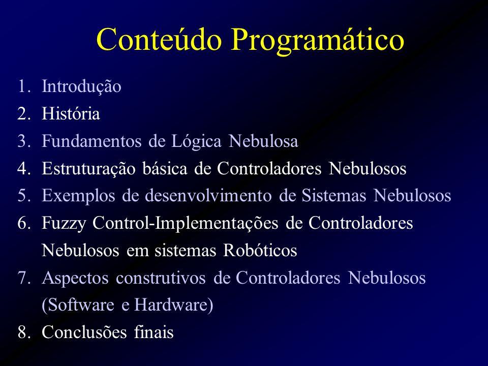 1.Introdução 2.História 3.Fundamentos de Lógica Nebulosa 4.Estruturação básica de Controladores Nebulosos 5.Exemplos de desenvolvimento de Sistemas Nebulosos 6.Fuzzy Control-Implementações de Controladores Nebulosos em sistemas Robóticos 7.Aspectos construtivos de Controladores Nebulosos (Software e Hardware) 8.Conclusões finais Conteúdo Programático