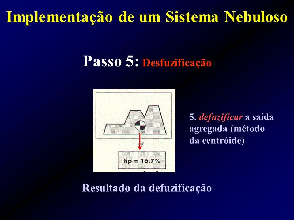 Passo 5: Desfuzificação Resultado da defuzificação 5. defuzificar a saída agregada (método da centróide) Implementação de um Sistema Nebuloso