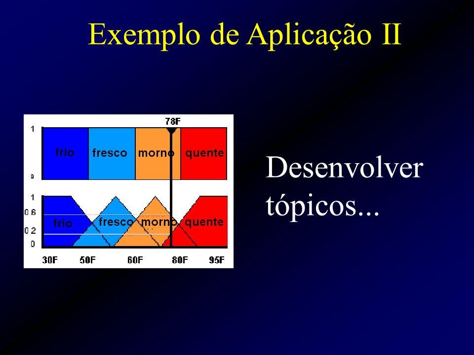 Exemplo de Aplicação II Desenvolver tópicos...