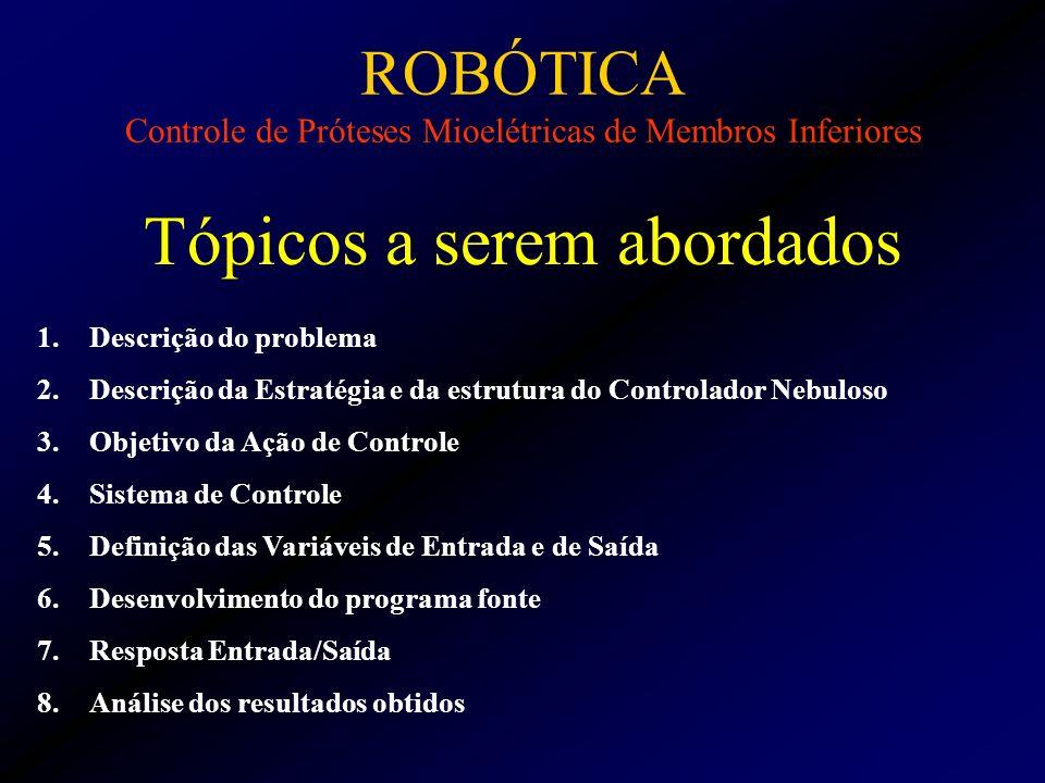 ROBÓTICA Controle de Próteses Mioelétricas de Membros Inferiores Tópicos a serem abordados 1.Descrição do problema 2.Descrição da Estratégia e da estr