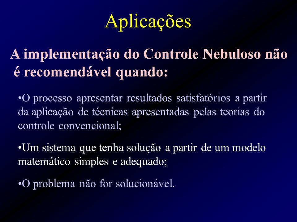 Aplicações O processo apresentar resultados satisfatórios a partir da aplicação de técnicas apresentadas pelas teorias do controle convencional; Um sistema que tenha solução a partir de um modelo matemático simples e adequado; O problema não for solucionável.